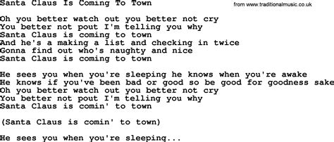 printable lyrics for santa claus is coming to town dolly parton song santa claus is coming to town lyrics