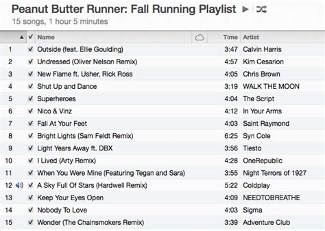 song of 2014 fall running playlist peanut butter runner