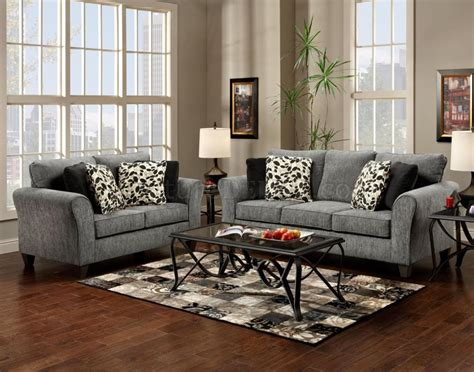 Grey Fabric Modern Sofa Loveseat Set W Options Grey Furniture Living Room