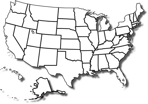 map of usa with states outline blank