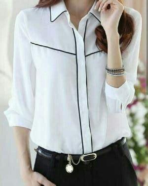Baju Hem Wanita Kemeja Wanita J7195 baju kemeja hem wanita warna putih polos model terbaru