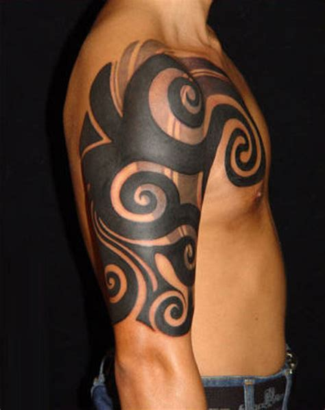 half arm tribal tattoos 69 traditional tribal shoulder tattoos