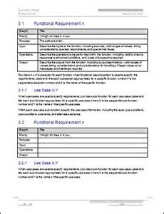 Functional Specification Template For Software Development by Software Requirements Specification Ms Word Template