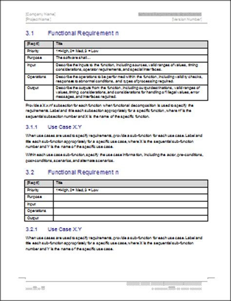 software requirements specification template ms word