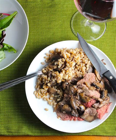 spoon roast with mushrooms and farro recipe cooking