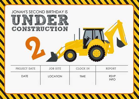 construction themed birthday card template construction themed birthday free printables
