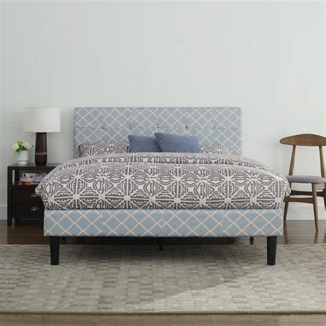 low headboard platform bed classic blue linen low profile platform bed frame with