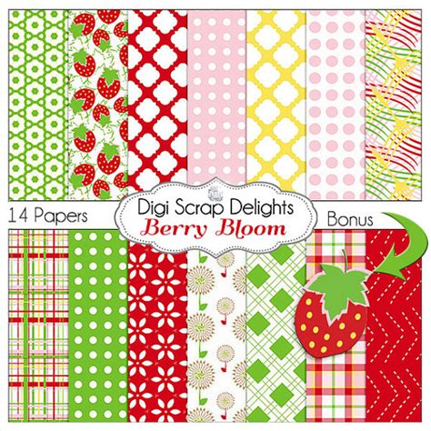 items similar to strawberry bloom digital papers in for