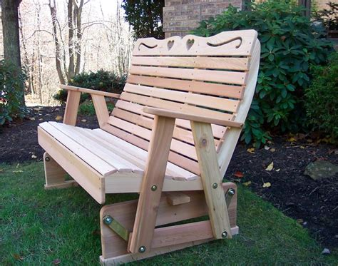 outdoor bench glider cedar country hearts rocking glider glider bench cedar