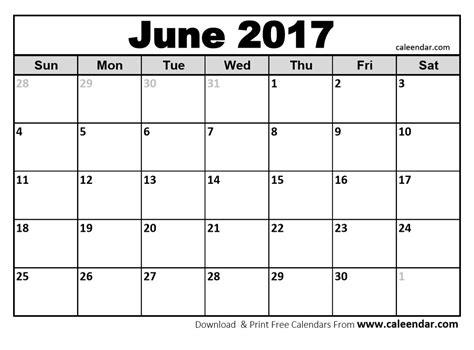 June Calendar Blank Calendar Of June 2017 Calendar