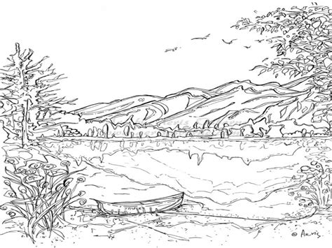 C Printable Area Landscape | mountain landscape coloring pages serenity jasper page