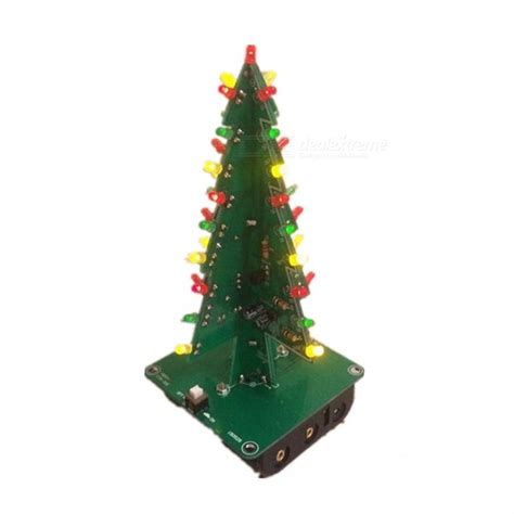 3d three dimensional tree led diy kit green yellow led flash circuit parts