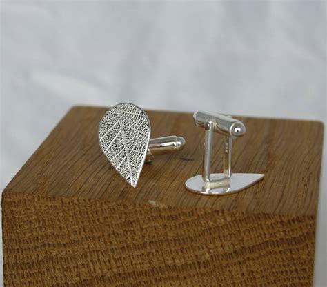Handmade Silver Cufflinks - handmade silver leaf imprint cufflinks by caroline cowen