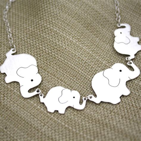 personalised elephant family silver necklace carole