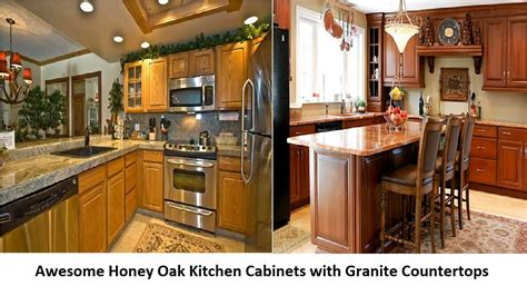 granite kitchen cabinets awesome honey oak kitchen cabinets with granite