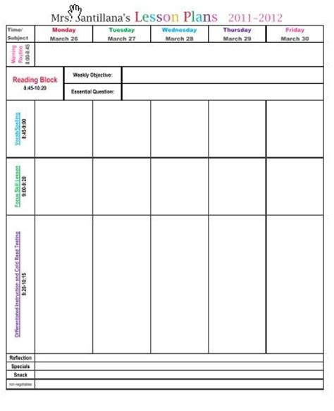 weekly lesson plan template excel 1000 images about lesson plan formats on high