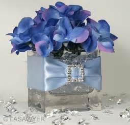 blue hydrangea wedding centerpieces photo