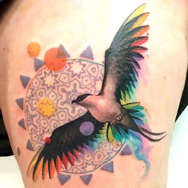 colorful bird tattoos new school matryoshka pinup idea