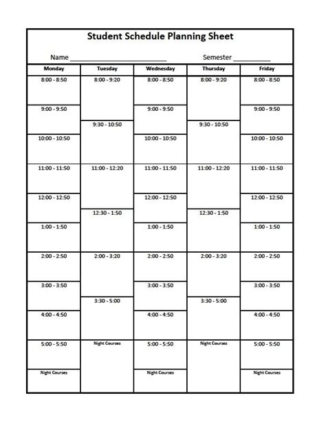 course schedule planner template college organizer planner free printable links free