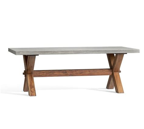 square concrete dining table abbott rectangular dining table pottery barn