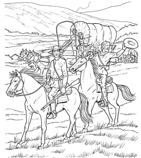 covered wagon coloring pages