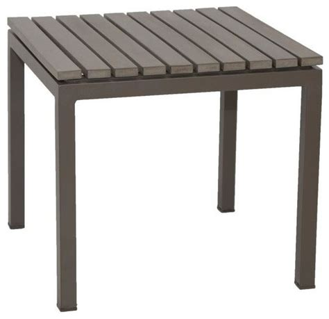 Faux Wood Patio Table Riviera End Faux Wood Table Contemporary Outdoor Side Tables By Patio Heaven