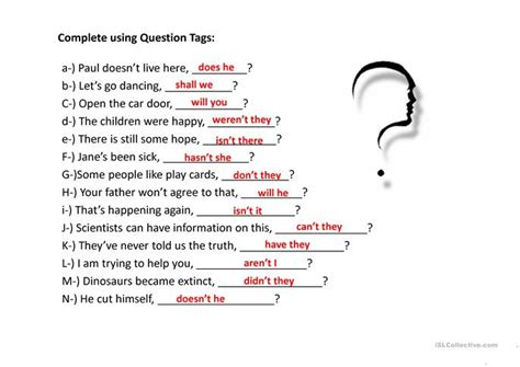 printable question tags exercise question tags exercises worksheet free esl projectable