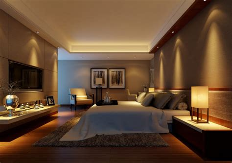 lighting design rendering for warm bedroom 3d house