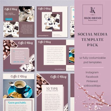Coffee Blog 12 Social Media Template For Instagram By Jkblogbrand Social Media Banner Social Media Banner Templates Free