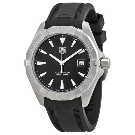 tag heuer watches tag heuer aquaracer black dial black rubber men s watch