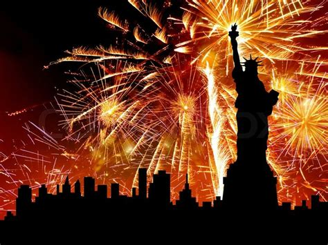 new year statue silhouette statue of liberty on firework background