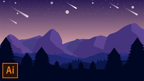 illustrator tutorial night scene illustrator adobe illustrator tutorial mountain landscape flat