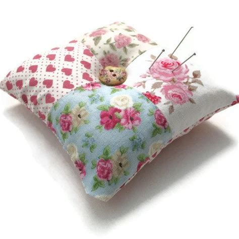Patchwork Pincushion Pattern - pin cushion patchwork floral shabby chic pin cushion pink