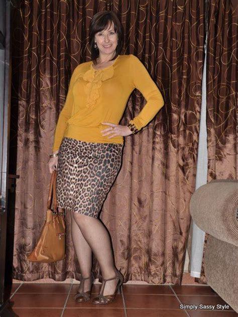 B Uniko Skirt Mr leopard print pencil skirt shoes mustard top