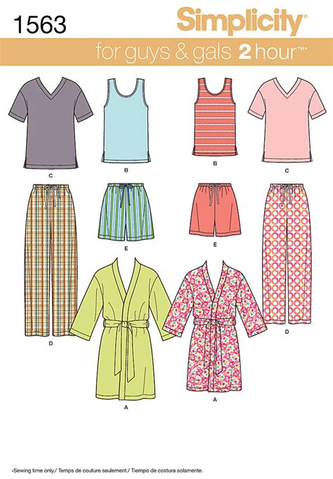 pattern review simplicity simplicity 1563 misses men s and teens sleepwear