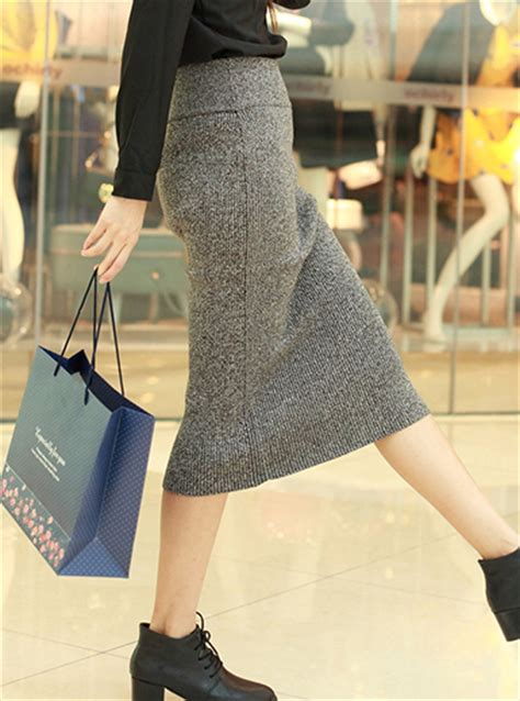 womens pencil skirt grey wool below the knee