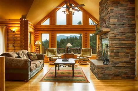 Log Cabin Living Room Ideas by Fireplace And Windows Great Rooms Living Rooms