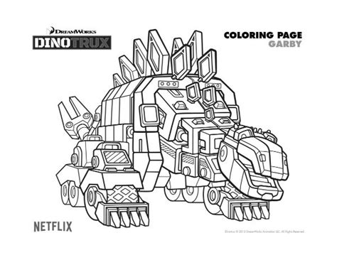 dino truck coloring page free dreamworks dinotrux garby printable coloring page