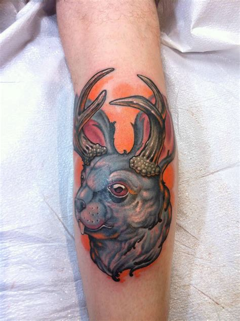 jackalope tattoo jackalope on leg
