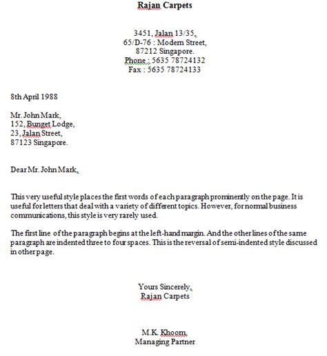 business letter hanging indented style styles format business letter okhtablog