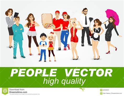 caratteri diversi insieme di diversi caratteri della gente illustrazione
