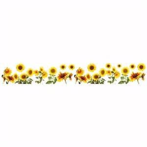 Simple Design For Small Kitchen Sunflowers Border Decal Home D Cor Line Wall Decals
