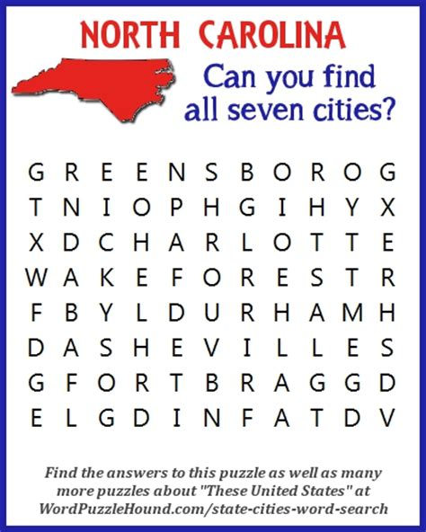 Nc Search State Of Carolina Cities Word Search Word Puzzle Hound