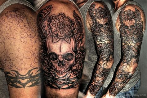 biker sleeve tattoo designs skull tattoos designs pictures page 26