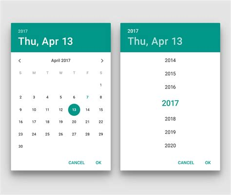 material design calendar js pickers components google design guidelines
