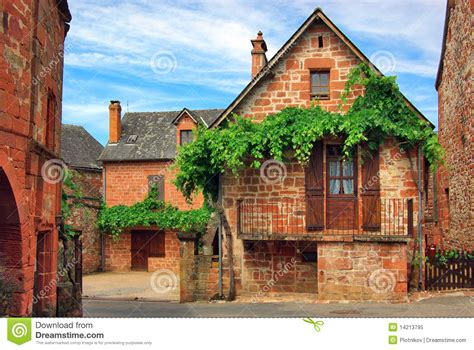 typical french home old traditional french house collonges la rouge stock
