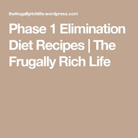Elimination Diet Detox Phase by Phase 1 Elimination Diet Recipes Elimination Diet