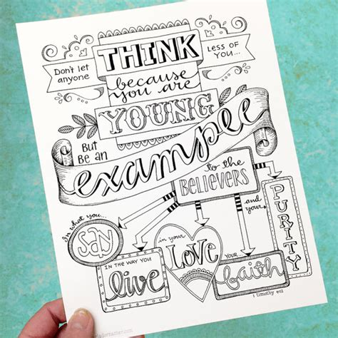 coloring pages for bible journaling 1 timothy 4 12 be an exle bible journaling color your own