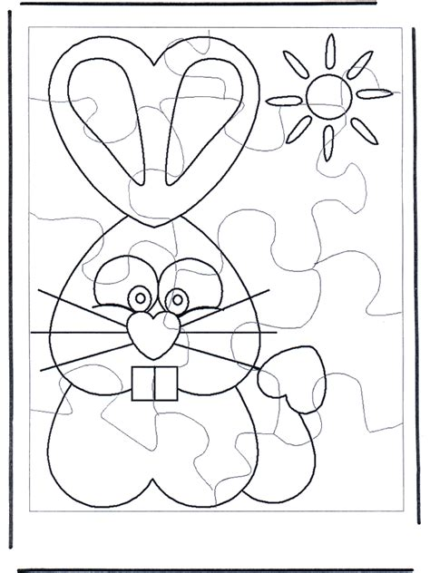 puzzle coloring sheets easter bunny puzzle 1 crafts eastern