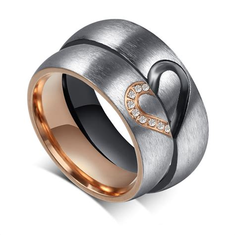 lover s shape titanium mens promise ring